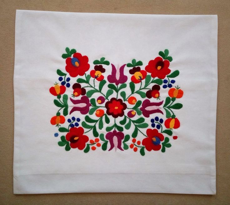 Hand-embroidered pillow case, with traditional Matyo embroidery - PILLOW-MKTR-319
