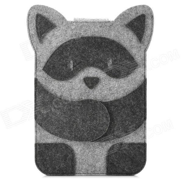 Mini0324 Super Thin Cute Cartoon Racoon Style Felt Fabric Pouch for Ipad MINI - Deep Grey + Silver