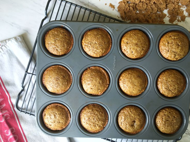 Warm, fluffy, and (refined) sugarless. These bran muffins are sweetened with honey and substitute oil for applesauce. They are so sweet and delicious