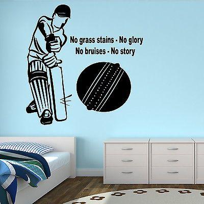 (Joes room) CRICKETER WALL STICKER TRANSFER ART SPORT CRICKET BALL BOYS BEDROOM