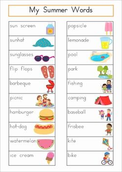 Word Wall - Summer Words {76 words}. Includes a personal word wall for students, a file-folder word wall for the writing or word work center and large cards for the classroom wall in color and black and white. ALSO comes with several different word wall worksheets. This would make a cute Write the Room game too!