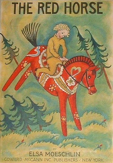 .Swedish Dala Horse -- antique card.
