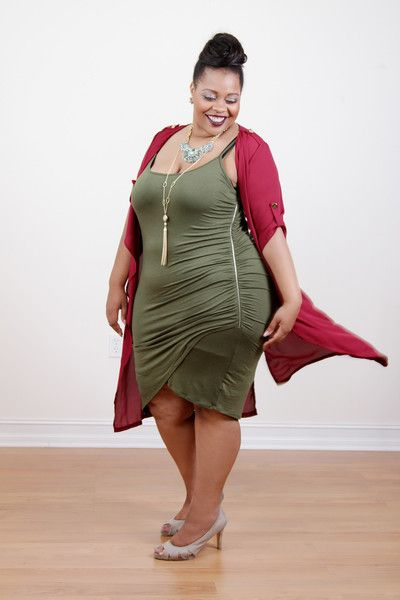 Plus Size Clothing for Women - Skorch Cover Side Zipper Olive Dress (Sizes  16 -