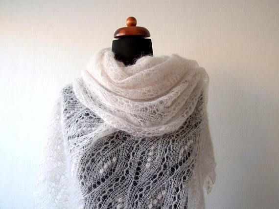 lace wedding shawl pale pink beige handknitted mohair stole