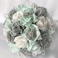 BRIDES WEDDING POSY, MINT, GREEN, GREY AND WHITE ROSES WITH BROOCHES, DIAMANTES AND CRYSTALS, ARTIFICIAL FLOWERS