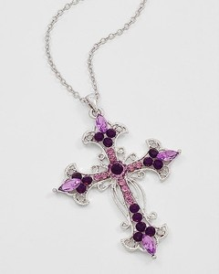 Purple crystal cross necklace $16.99  Free US Shipping