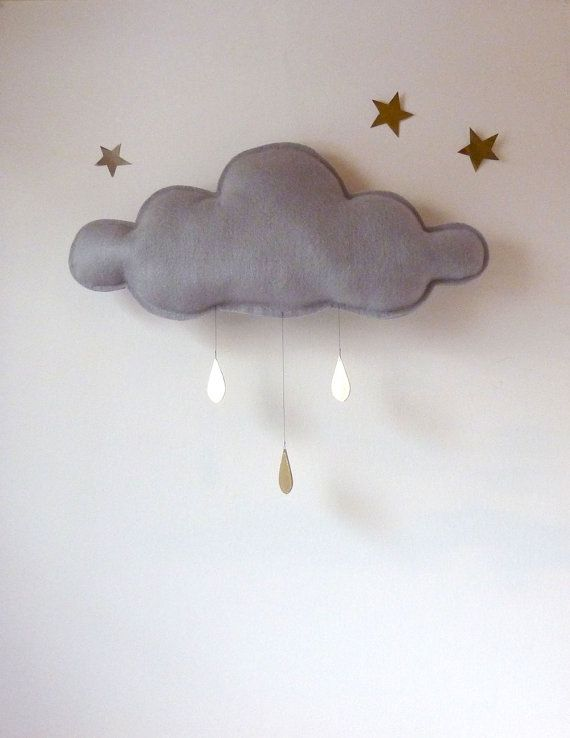 THE Big Grey Rain cloud with Gold raindrops by The Butter Flying