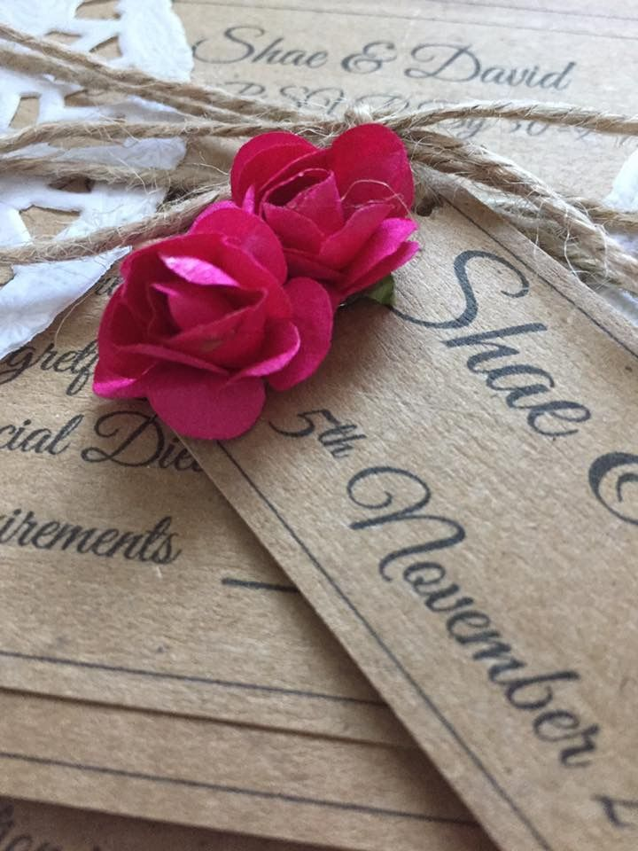 Hot pink with rustic... wedding invitations