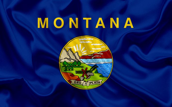 Hämta bilder Montana Flagga, flaggor av Stater, flagga Staten Montana, USA, staten Montana, blå silk flag, Montana vapen
