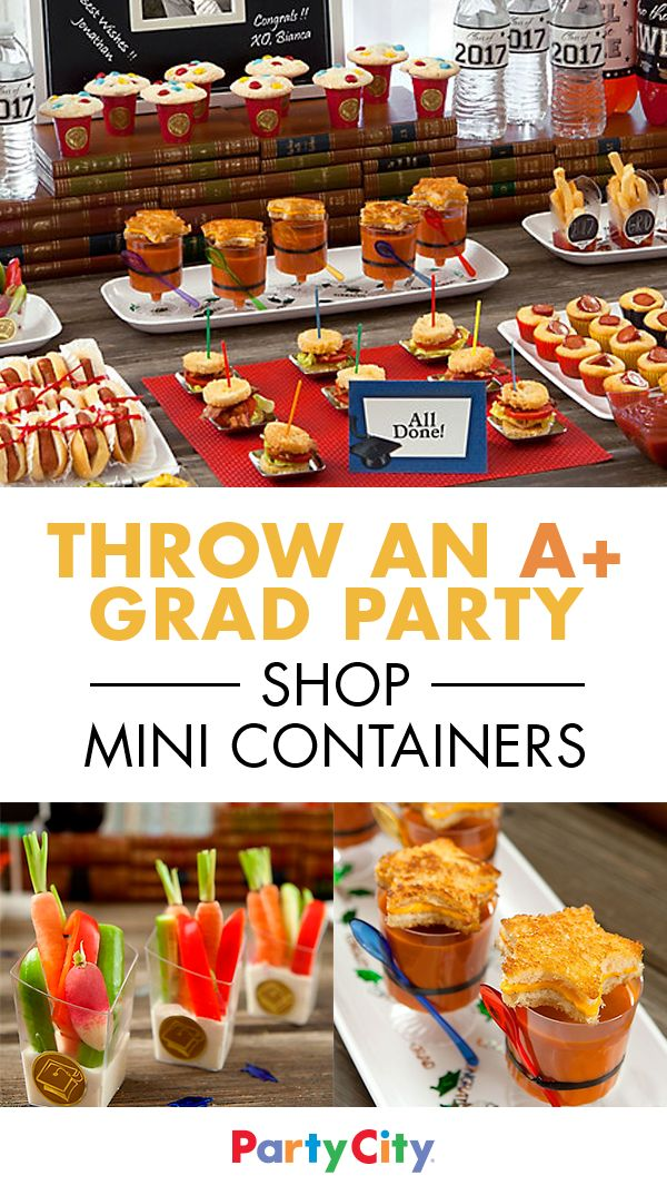 Wow your star student and party guests with bright decorations and a table of clever cafeteria-themed cuisine, served in trendy mini containers perfect for munching and mingling. Get more simple serving ideas at Party City.