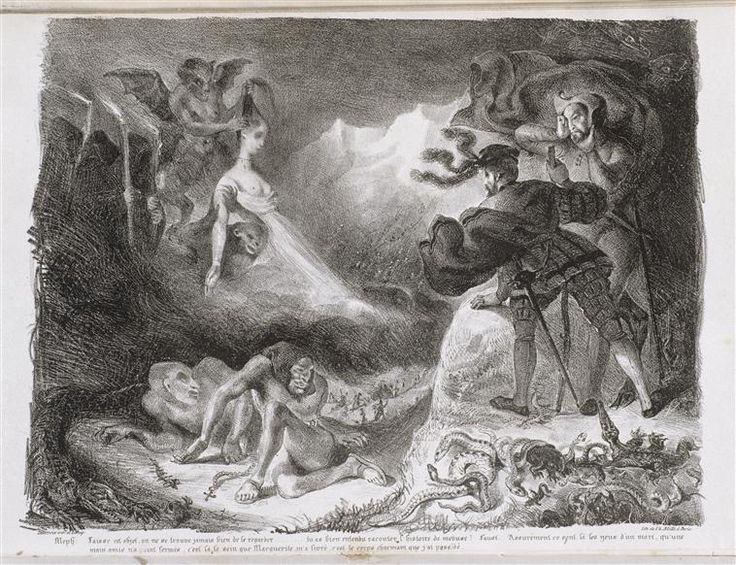 """Delacroix Eugène (1798-1863) -  L'ombre de Marguerite apparaissant à Faust - lithographie pour la suite  de """"Faust"""" de Goethe - 1828"""