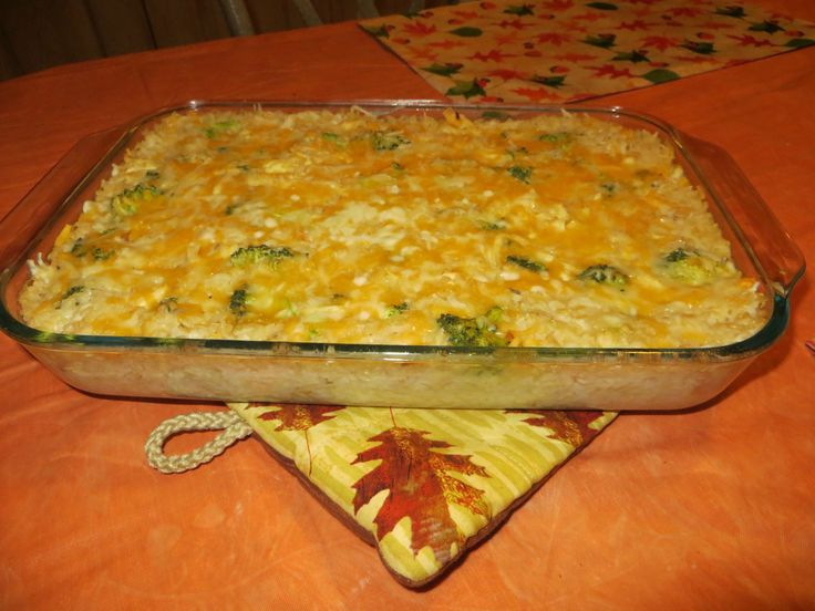 Cheesy Chicken, Broccoli and Rice Bake: The satisfying whole-grain brown-rice, lean chicken breast, tender broccoli, and gooey and flavorful cheeses make this recipe savory and healthy! It is low-fat and calories, high in protein, and good source of vitamin C. Add a serving of fruit or a side salad for a complete meal! The recipe serves 12 so its great for feeding large families or a crowd and enjoying leftovers.