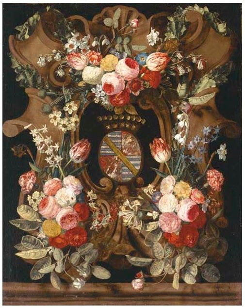 Carstiaen_Luyckx_-_A_flower_garland_around_a_stone_cartouche_with_a_coat-of-arms.jpg 505×635 pixels