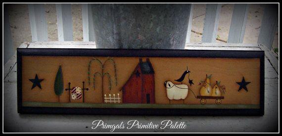 Primitive bois Plaque maison Decor-Saltbox-Willow Tree-mouton-poire-couette Wall Art