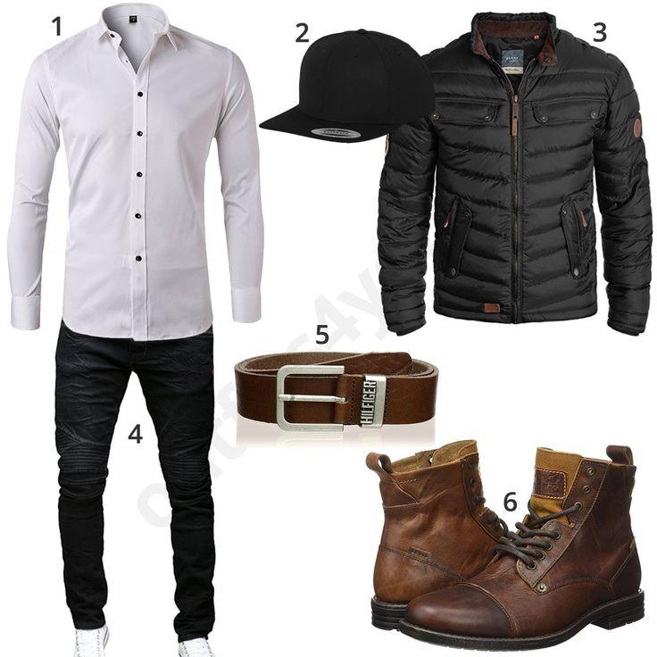 Schicker Herrenstyle mit weißem Slim Fit Hemd, schwarzer Flexfit Cap, Blend Steppjacke und Merish Jeans, braunem Hilfiger Gürtel und Levi Stiefeln