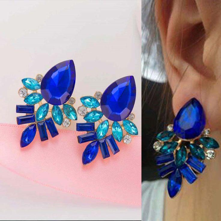 NEW Women Fashion Jewelry Style Blue/Black/Pink Earrings Handmade Rhinestone sweet stud crystal  for women girl