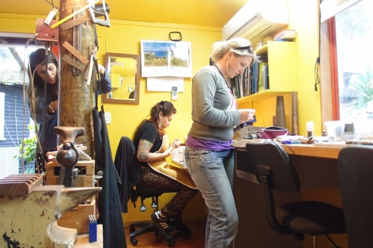 three students @ Bush Jewellery Studio, Titirangi, Auckland, NZ  NZSIlversmiths