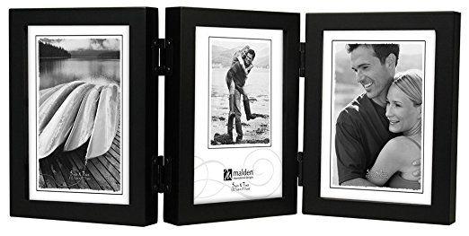 Malden International Designs Classic Concepts Vertical Black Wood Picture Frame, 3 Option, 3-5x7, Black