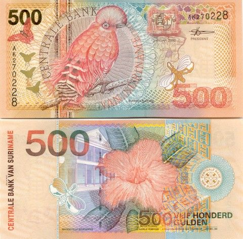 Suriname 500 guilder - This, more recent series from Suriname, is so colourful. It has to make you happy when you see or spend money!               Please note.   This image is the property of http://www.banknotes.com and may not be used for commercial activities.