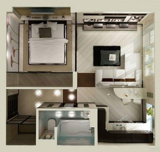 gambar denah desain apartemen studio minimalis 3d 6