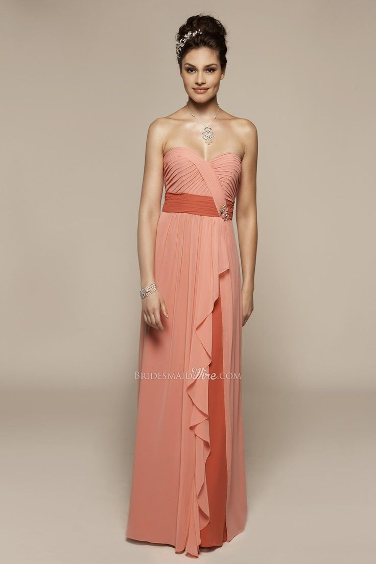Shirred Bodice Peach Long Bridesmaid Dress With Cascading Skirt Overlay