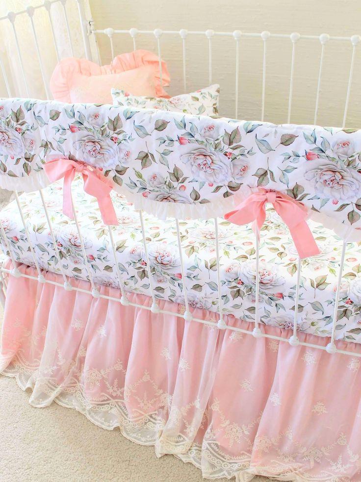 New Farmhouse Peonies baby girl crib bedding by Lottie Da