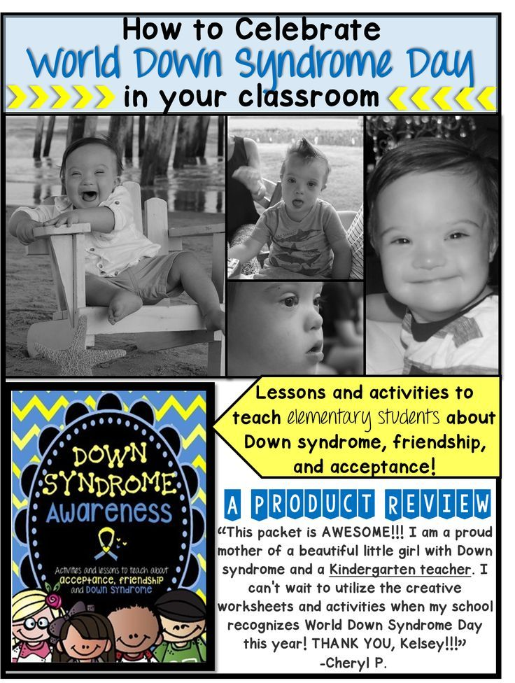 "https://www.teacherspayteachers.com/Product/Down-Syndrome-AwarenessWorld-Down-Syndrome-Day-1753005  Celebrate World Down Syndrome Day (March 21st), or Down syndrome Awareness Month (October) in your classroom with this product. It not only teaches students about DS, but also friendship, acceptance, and our similarities and differences. Find the product ""Down syndrome Awareness"" in Mango Design's TpT store (Kelsey Mango)."