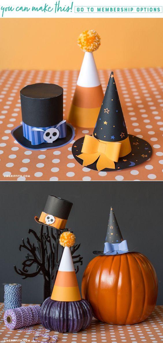 Printable Halloween Party Hats - www.liagriffith.com #canon #spons #diyinspiration #diyhalloween #diycostume #diyhalloweencostume #printables #paperart #madewithlia