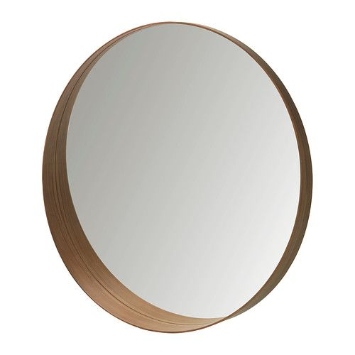 "This Stockholm Mirror from IKEA might be a good choice for Mr. K's ""launch area"". The frame is molded beech plywood with walnut veneer. 31-1/2"" diameter by 3-7/8"" deep. US99."