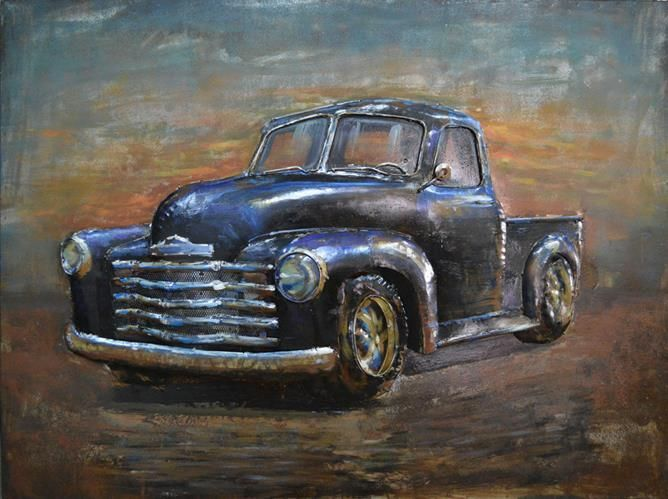 This 3D Steel Wall Art Painting 1950's Ford Ute is an attractive feature to your Indoor or Outdoor room. This wall art has been hand crafted with a metal frame and handpainted on metal to create a 3D piece. Wonderfully unique, if you are looking for that WOW factor, these are stunning! Dimensions: 1200MM X 800MM Colour: Natural Rusted & Colourful paint This is perfect for Alfresco patio areas, interior walls, you can place outside exposed to the outdoor elements but protection wil