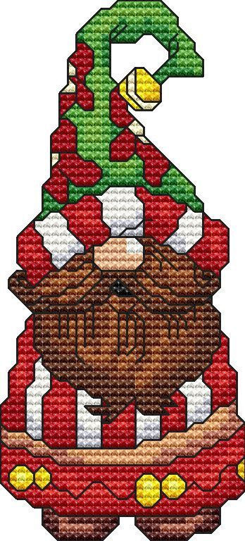 Holiday Gnome 5 Cross Stitch Pattern Fun Modern Design for Holiday Season Instant Download pdf - Santa Christmas Winter Seasons Gnome Elf by StitchXCrossStitch on Etsy