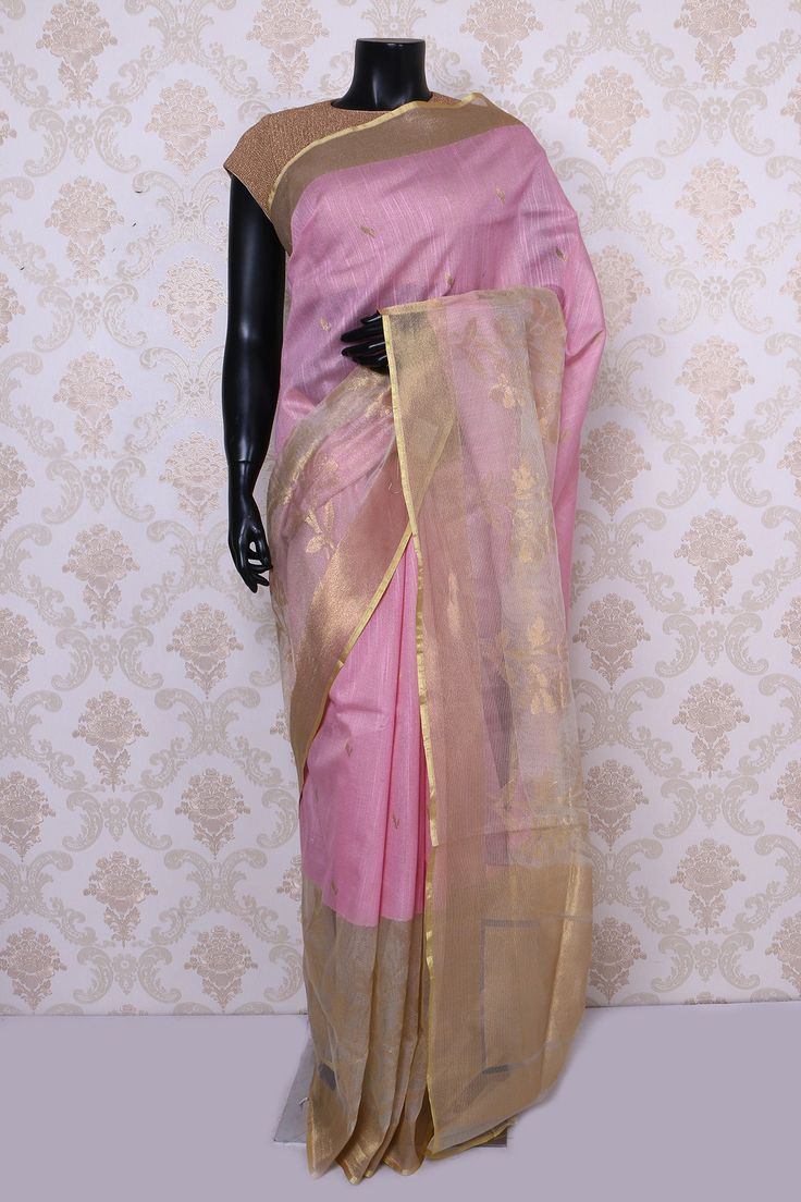 #Lavender pure #banarasi silk stylish #saree with #gold border -SR13557