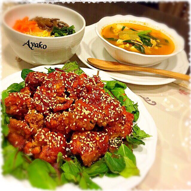 今日は、大好きな韓国料理です♡ - 112件のもぐもぐ - ヤンニョムチキン、ビビンバ、韓国キムチチゲスープ by ayako1015