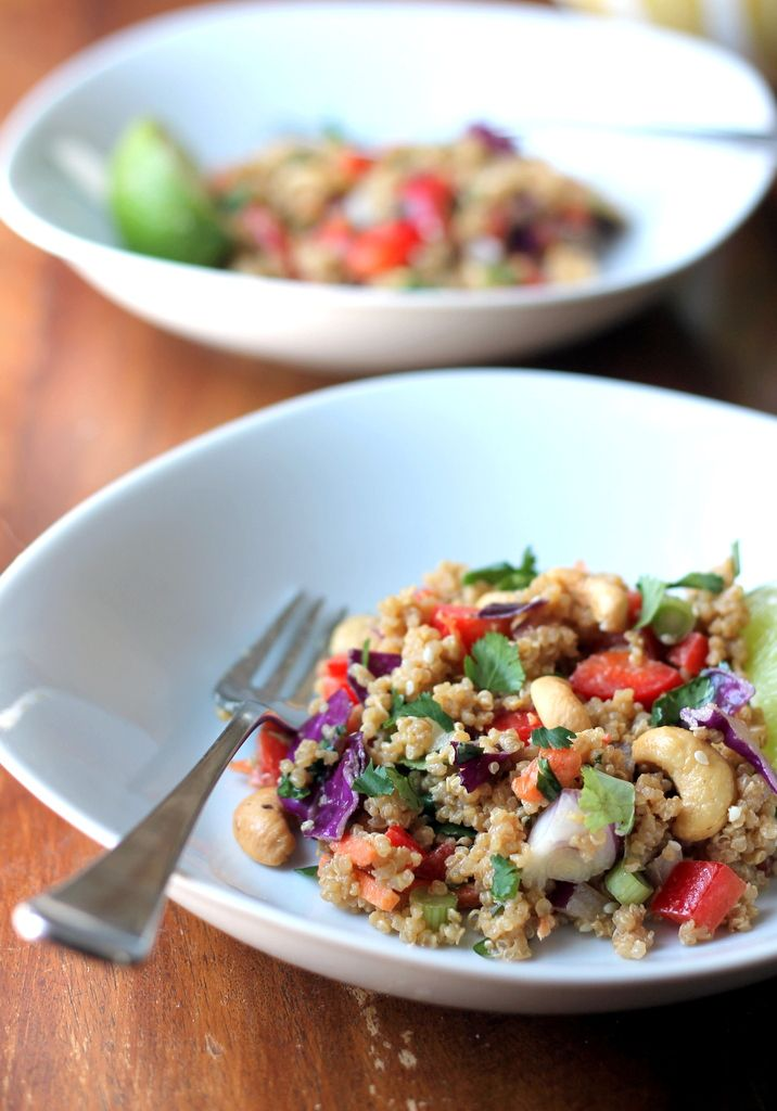 Crunchy Cashew Thai Quinoa Salad with Ginger Peanut Dressing - DELICIOUS!  Seriously some amazing flavours going on.  I think next time I would leave out the cilantro as I am not a huge fan and found that it really changed the flavour.  Also, maybe a few red pepper flakes to add a bit of zing would be great! :)