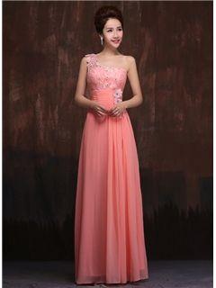 Elegant A-Line One Shoulder Lace Bridesmaid Dress