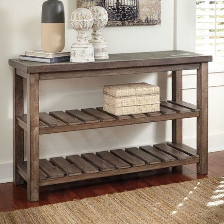 Features: -2 lower shelves. -This table has not been weight tested. Top Finish: -Brown. Base Finish: -Brown. Top Material: -Wood. Base Material: -Wood. Dimensions: Overall Height - Top to Botto