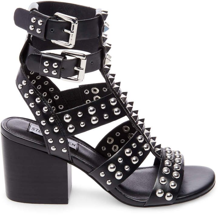 Steve Madden DOUBLE gladiator sandal! A flattering stacked heel and varied  stud high heel shoe