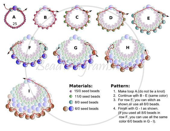 FREE Pattern for PEYOTE FAN Earrings. Page 2/2. Modified from Linda's Crafty Inspirations pattern.