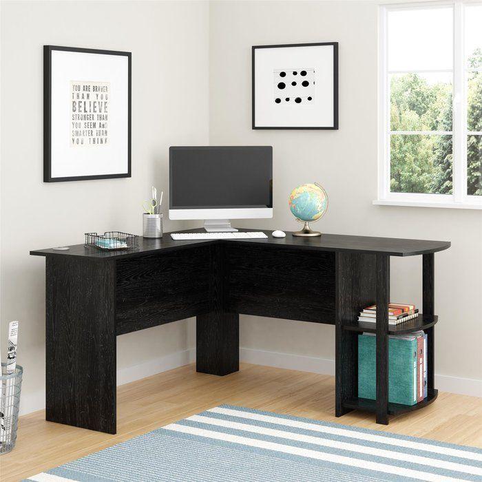 Salina L Shape Computer Desk Bookshelf Desk L Shaped Office