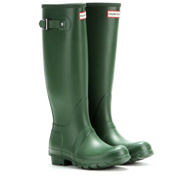 Hunter Original Tall Wellington Boots ($94) ❤ liked on Polyvore featuring shoes, boots, green, green rain boots, wellington rubber boots, wellies rubber boots, green rubber boots and tall rubber boots