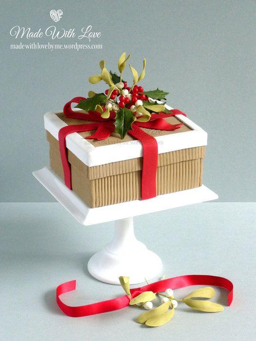 Holly and Mistletoe Christmas Box Cake - by pamvmc ...