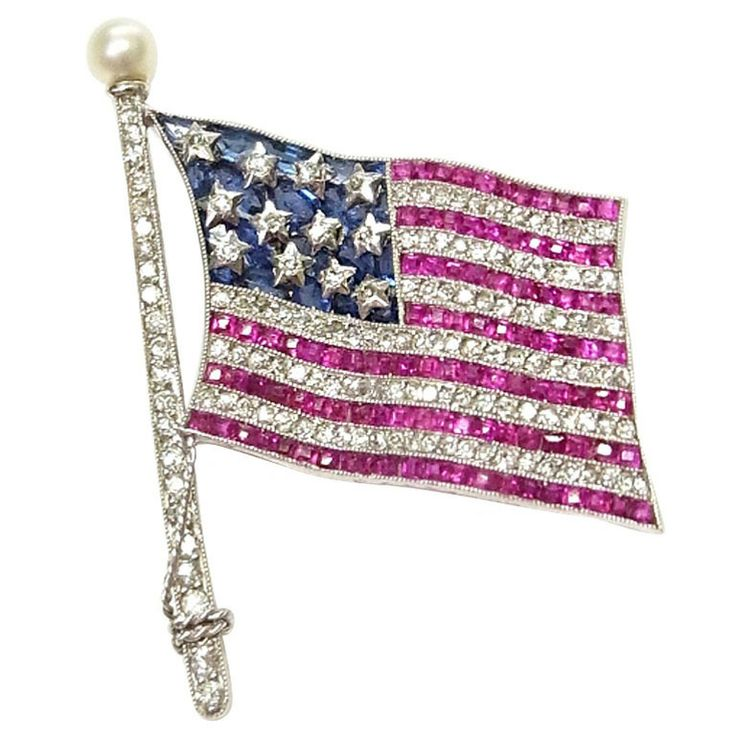 Bailey Banks & Biddle American Flag Brooch | 1stdibs.com Only ...