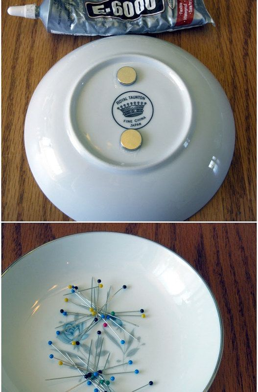 Magnetize a bowl to keep your pins in place. | Community Post: 45 Organization Hacks To Transform Your Craft Room