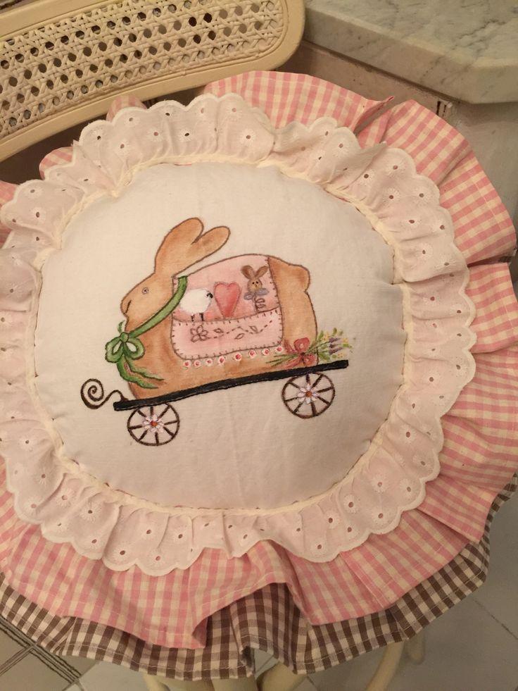 """""""Easter """" pittura su stoffa realizzato per la mia cucina country chic"""
