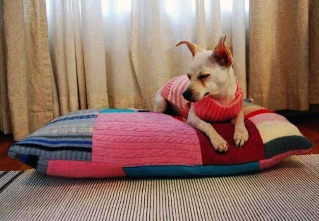 DIY Dog Bed from repurposed sweaters