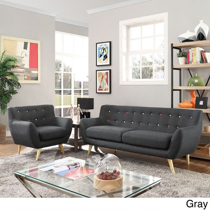 Modway Remark 2-Piece Mid Century Living Room Sofa Set - 2Piece (Azure),  Beige Off-White