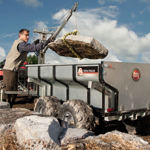 DR Power Versa Trailer: 1 Ton Commercial Grade Utility TrailerThe most versatile work trailer anywhere! Hauls up to 2,000 lbs and is equipped with a Boom-Lift to lift loads up to 440 lbs. Use with your ATV,UTV or garden tractor to take the work out of lifting, dumping, and hauling.  $1599.99
