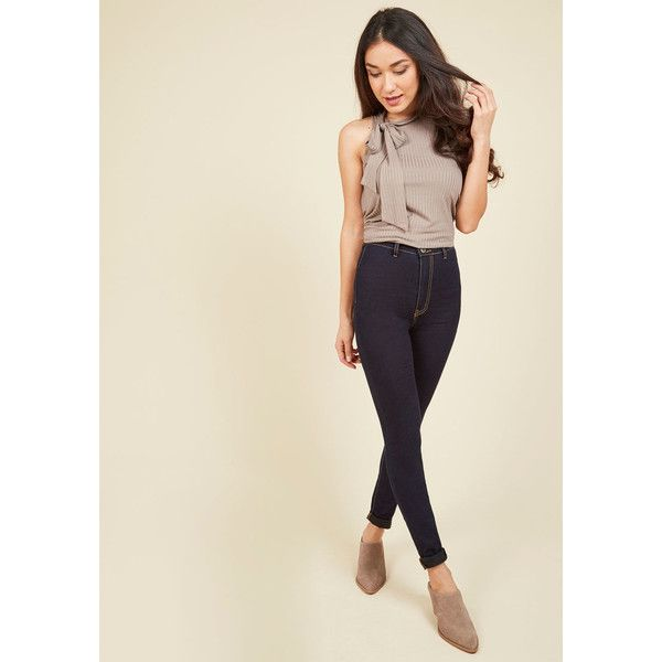 On a Roller Derby Jeans (77 CAD) ❤ liked on Polyvore featuring jeans, apparel, bottoms, denim pant, skinny denim pant, varies, high-waisted jeans, brown skinny jeans, skinny fit denim jeans and denim jeans
