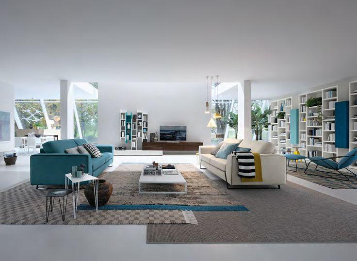 #blue #yellow #neutral #modern #living room #Eurocasa