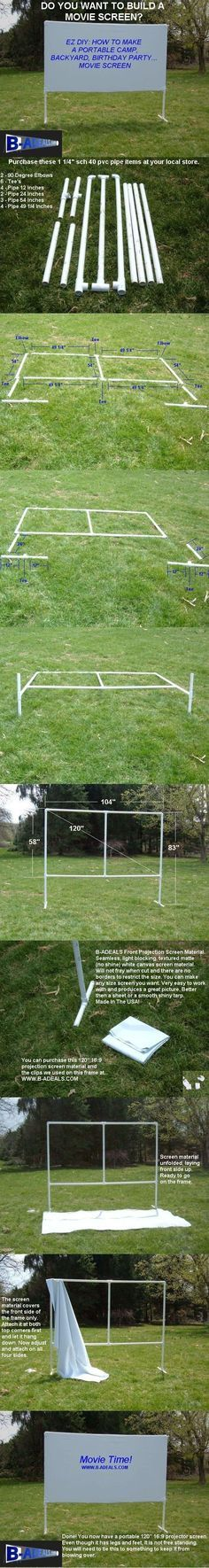 Backyard Movie Theater Outdoor Movie Night. Free DIY Projection Screen Frame Instructions from http://www.b-aDeals.com